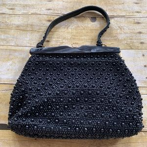 Vintage Gold Accent Black Beaded Hand Bag